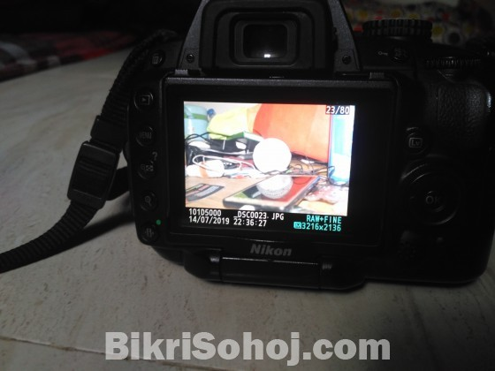 nikon d5000 with 18-55vr lens and beg